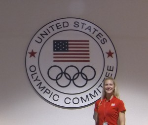 Dr. Brown Budde providing care at the US Olympic Training Center