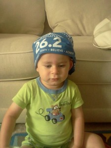 Laura's son, Landon, getting her motivated for the Columbus Marathon