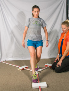 Dr. Brown Budde administering the Y Balance Test